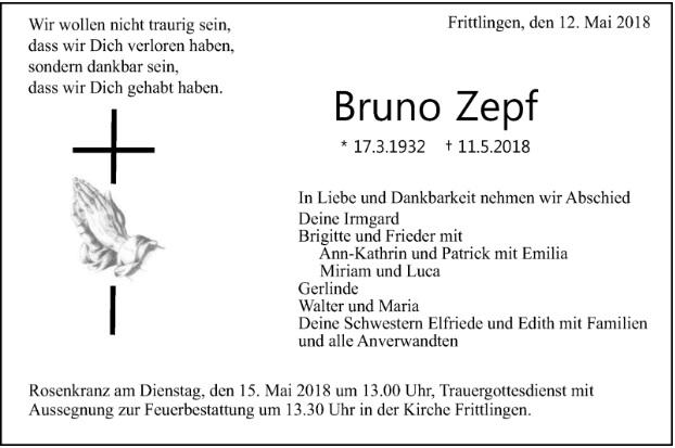 Trauer um Bruno Zepf